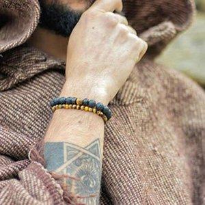 2pcs / set volcan de lave naturelle pierre Bouddha perle labradorite énergie en pierre Bracelet Yoga Bijoux Bouddha braclets pour les hommes