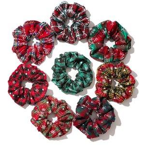 Noël Porte-cheveux Ponytail Scrunchy élastique Snowflake Bandeaux Grille Scrunchy Serre-têtes rouge vert Cravates Cordes pour les filles de femmes