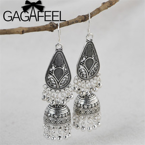 GAGAFEEL S925 argent sterling Perles Tassel Boucles d'oreilles longues Vintage Wind Chime Dangle boucle d'oreille Bijoux Boucles d'oreilles charme Exagération