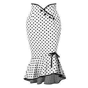 Clocolor Polka Dot Rock Damen Asymmetrische Mermaid Bodycon Hohe Taille Bleistift Röcke Vintage Weiß Printed Button Midi Rock Y19043002