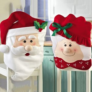 2Pcs Set Xmas Mr and Mrs Santa Claus Kitchen Dining Dinner Table Chair Back Cover Christmas Decorations for Home