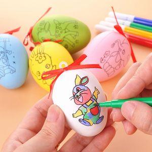 Pascua creativa Patrón de impresión a doble cara Huevo DIY Niños Hecho a mano Creativo Plástico Graffiti Color 6cm Cáscara de huevo 5pcs / Set XD20059