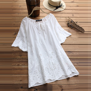 Womens Tops Summer Blouse White Women Blouse Fashion Short Sleeve Blusa Female Vintage Hollow Floral Embroidery Casual Shirt Summer Tops