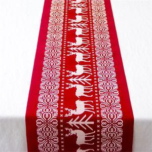 Noël Chemin de table Innovative Party Crafts Décorations Coton et Lin Nappe imprimée Drapeau de table Dîner Décor de table intérieur pour Hom