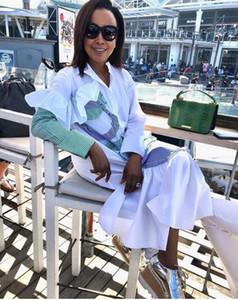 2020 Vendre et jupe chemise pour femmes Vêtements bande Loisirs Splicing Lotus bord feuille Irrégularité jupe manches longues robe B9219
