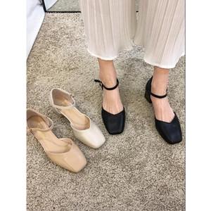 2020 النساء الصنادل سميكة مكتنزة كعب حذاء الرومانية أبيض أسود اللون البيج تنفس النساء مريحة الأحذية حجم يورو 35-39