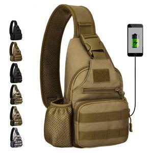 Protector Plus Multifunktions-Tasche Wasserkocher-Brusttasche Taktische Schulterrucksäcke für den Radsportsport mit USB-Lade-Brust-Freizeittasche