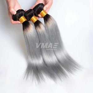 VMAE Brazilian Virgin Gerade Bundles Graues Haar Weaves 3pcs / lot Ombre Farbe 1B / Grau Silber Haarverlängerungen Soft-einschlag
