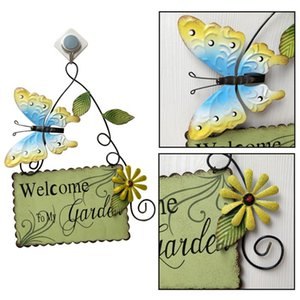 Garden Themed Butterfly Welcome Sign for Front Door Porch Hanging Metal Yard Flower Welcome Wall Plaque Art Decoration