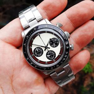 Cronógrafo dos homens de luxo do vintage perpétua paul newman de aço inoxidável de quartzo japonês meless aço marca de moda relógio de pulso dos homens