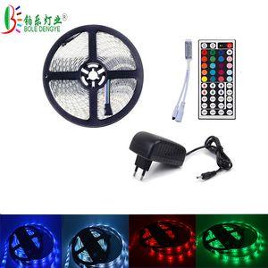 BOLE DENGYE RGB LED Strip 5050 2M 3M 5M 10M Waterproof Flexible Diode Tape 44Key IR Remote RGB Controller 12V 3A 5A LED Adapter