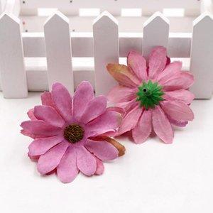 10PCS / 많은 6cm 실크 레트로 데이지 인공 꽃 머리 웨딩 장식 DIY 화환 방명록 공예 가짜 꽃 인공 꽃