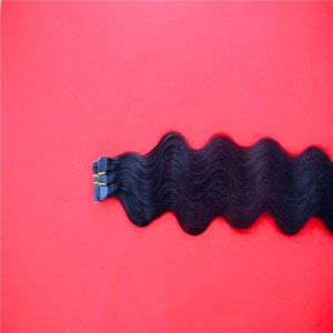 Black Color Remy Tape In Human Hair Extensions 10-30 Incs Skin Weft Body Wave Hair Unprocessed Hair 2.0g pc 100g pack
