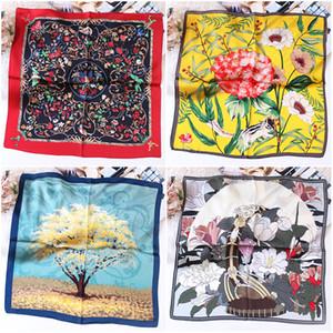 Variety Optional Series Hand-painted Silk Silk Scarf Small Square Scarf Female Joker Autumn Hangzhou Silk Scarf