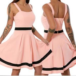 robe d'été femmes Sexy robes de femmes sans manches couleur unie Mini Causal Holiday Beach Causal Vintage Dress pour les femmes