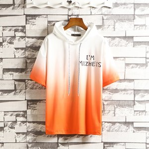 7cpZJ 2019 autumn men's short trend half half- hooded 2019 autumn men's short sleeve t-shirt trend half t-shirt sweater half-sleeve hooded s