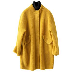 Real casaco de pele de lã Jacket Outono Inverno Brasão Mulheres Roupa Sheep 2020 Shearling coreana Tops Suede Lining Abrigo Mujer ZT3667