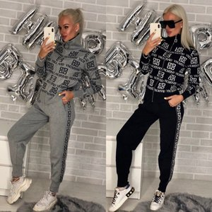 Moda Womens Marca Treino Mulheres 2 Pieces Set Sweatsuit Zipper listrado Treino manga comprida camisola + Pants Conjuntos femininos