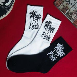 Homens Meias novidade Masculino Rhode Coqueiros Branco meias pretas Sports Letter meias de algodão Ordinária fresco Sheer