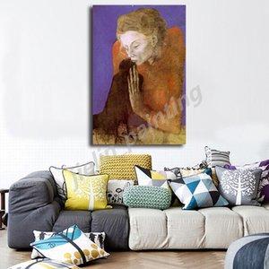 Pablo Picasso Femme avec un Corbeau 1904 Peinture en toile HD Imprimer Chambre Home Décor moderne d'art de mur Peinture à l'huile Cadre Poster