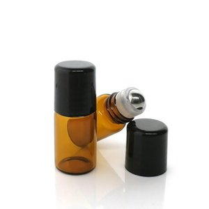24pcs 1ml 2ml 3ml Amber Glass Roll On Bottles for Essential Oils doTERRA Empty Stainless Steel Roller Ball Bottle Lip Gloss
