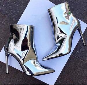 Ayna Deri Metalik Kadın Ayak Bileği Çizmeler Sivri Burun ince Yüksek Topuk Pist Çizmeler Gümüş Altın Kadın Seksi Stiletto Motosiklet Çizmeler