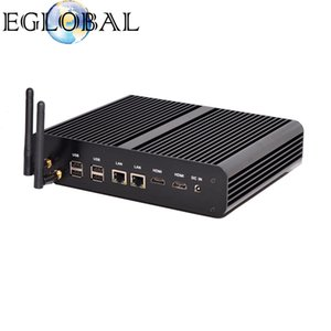 Eglobal Fanless Küçük PC Intel Core i7-5500U HD Grafik 5500 2HDMI WiFi Nettop Bilgisayar PC siyah renk alüminyum alaşım