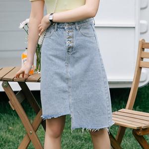 Pengpious irregular corte denim saia para moda senhora lavada bolsos de volta bainha desgastada