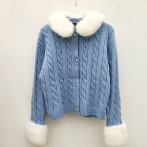 2019 New early autumn sweet girl first love hair collar cuff decoration short knit sweater cardigan coat