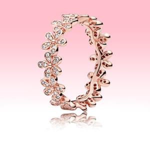 Top Fashion 18K Rotgold Ring Frauen Weding Schmuck für Pandora 925 Echtsilber CZ-Diamant-Kristall Gänseblümchen-Blumen-Ringe mit ursprünglichem Kasten