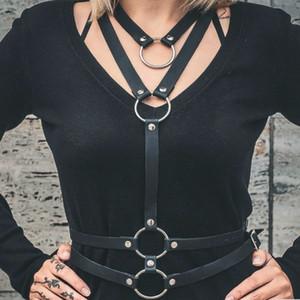 Nueva Sexy Hombres Mujeres cabestro Correa Collares Estilo hecho a mano de cinturón de cuero Y arnés de cuerpo Bondage jaula correas