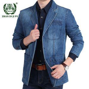 Denim Blazer Autunno Inverno Cotone Casual Fashion Giacca da uomo maschio Slim Fit adatti ai jeans Blazers Formato più Blazer Masculino