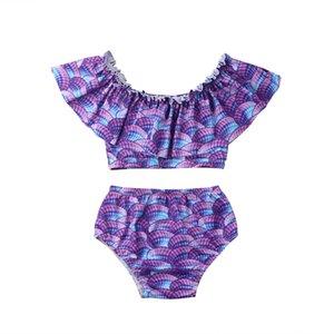 2Pcs Toddler Baby Girl Off Shoulder 2019 Swimwear Bathing Suit Bikini Swimsuit Set Tankini Swimsuit Swimming Costume 2-7Y