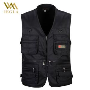 Masculino Vest Men Moda de algodão sem mangas casacos-pretos Coletes Casual pesca com muitos bolsos de descarga Colete V191205
