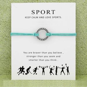 Monili del regalo di modo degli uomini Cheerleader Cheer mamma Baseball Softball Pallacanestro Calcio Hockey Pallavolo Sports Card Bracciali Charm Donne