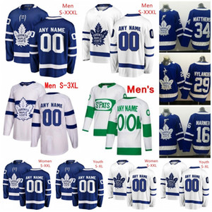 Personalizados Toronto Maple Leafs 2020 Branco Azul Verde Jersey Qualquer Nome Número homens mulheres jovens Barrie Kapanen Muzzin Johnsson 88 Nylander