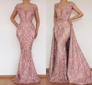 Elegante Blush Pink Lace Appliqued Mermaid Prom Kleider Luxus Off Shoulder Abend Party Kleid mit abnehmbaren Zug Abendkleider BC2466