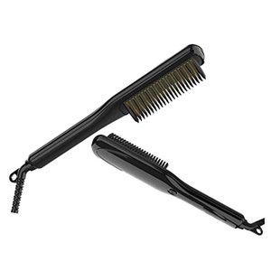Taşınabilir 2 1 Elektrikli Saç Sakal Isıtmalı Fırçası Saç Düzleştirici Düzleştirici Quick Styler Sakal Tarak ile LED Ekran