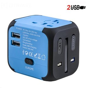 Universal Dual USB 2.4A Travel Adapter Worldwide All in One Universal Travel Adaptor International Power Plug Adapter Wall Charger for US UK