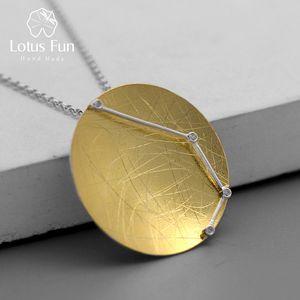 Lotus Fun real prata esterlina 925 Zirconia Handmade Designer Fine Jewelry doze constelações pingente sem colar