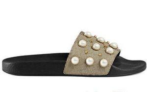 Perla zapatillas grueso Diseñador fondo de goma sandalia hombres florales tirón del deslizador de engranaje fondos mujeres de los fracasos de rayas Beach zapatilla con la caja US5-11