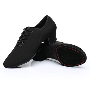 Men Latin Dance Shoes Adult Two Point Soles Shoes Non-Leather Casual Soft Base Dance Male Oxford Cloth Heel 5cm