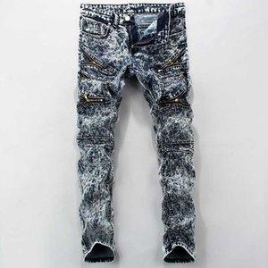 Мужские джинсы мужские карандаш брюки растягивают бренд уютный повседневная стройная пригонка худых мальчиков мужской джинсовый байкер человек