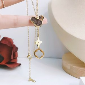 V letter 316L stainless steel hollow four leaf flower tassel necklace ladies four leaf clover necklace free shipping