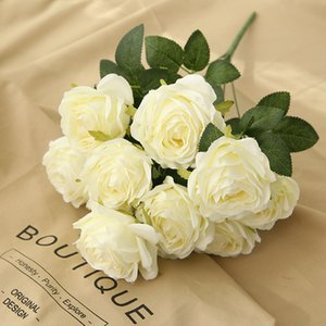 Spot Supply: 10 Heads, 9 Colors Rose, High-Grade Simulation Flowers, Wedding, Home Furnishing, Decoration, Artificial Flowers