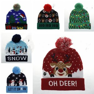 Christmas Knitted Hat Light-up Beanies Hats Fashion Xmas Outdoor Light Pompon Ball Ski Cap Novelty LED YSY205-L