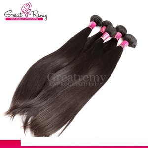 A Greatremy Unprocessed Peruvian Human Hair Extensions 8 &Quot ;-30 &Quot ;Double Weft 4pcs Lot Hair Weave Bundles Silky Straight Natur