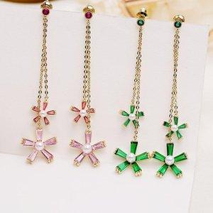Brand Flowers Earrings For Women Long Tassel Ear Studs Bling Cubic Zirconia Wedding Jewelry Silver Plated Wholesale
