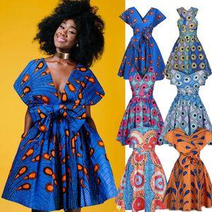 Femmes Casual Africaine Tradition Vêtements Ankara Sexy Robe de soirée Imprimer Multi-Way Summer Africa Impression Style Robe d'été