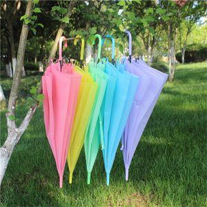الحلوى اللون مظلة طويلة التعامل مع متجمد مظلة PVC 8 التلقائي العظام PVC مظلات وردي أخضر أصفر المظلات لون الصلبة
